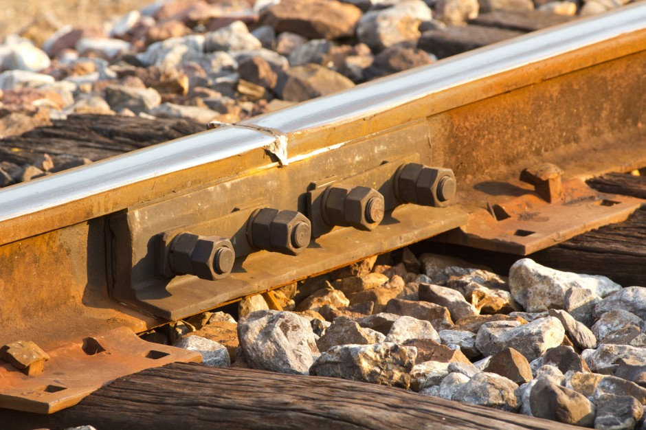 Closeup from railroad rails