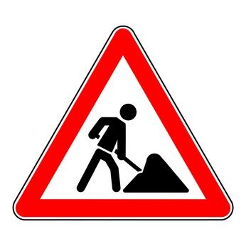sign roadworks Symbol Baustelle